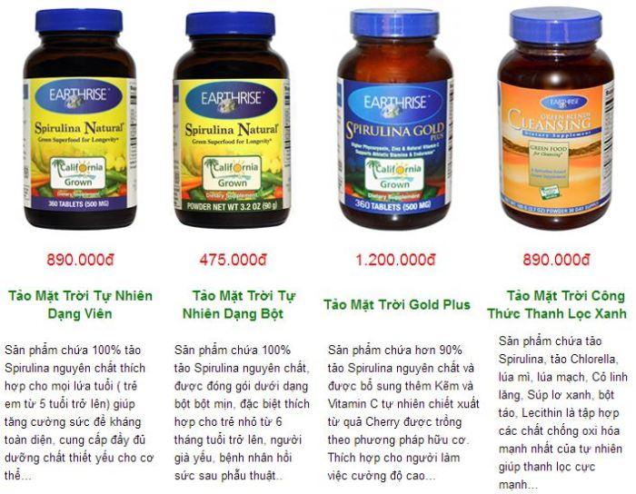 Các sản phẩm tảo mặt trời